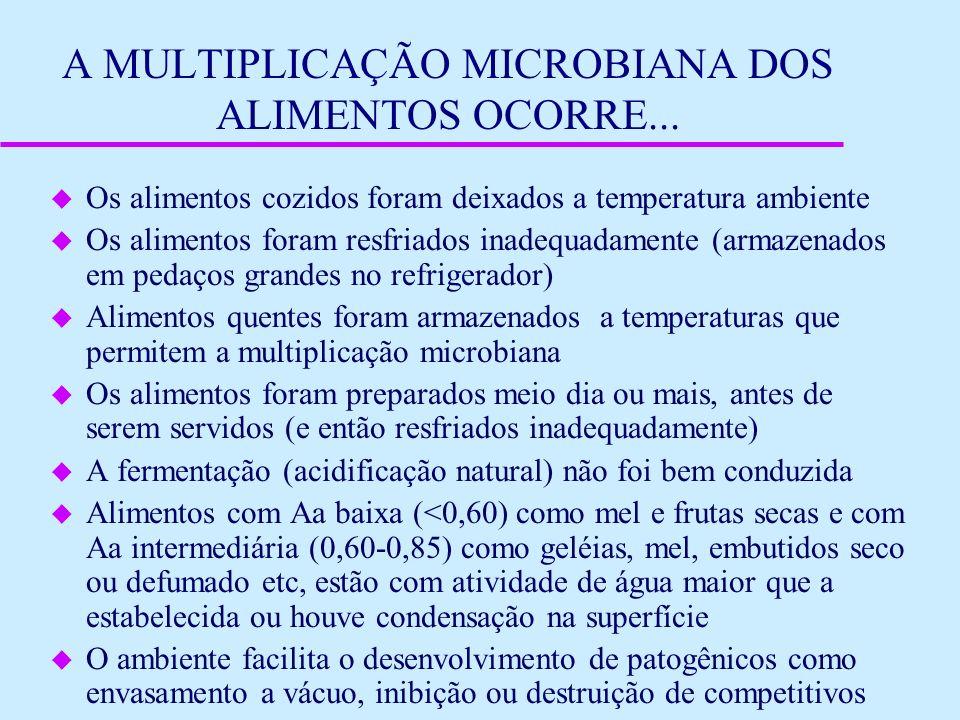 A MULTIPLICAÇÃO MICROBIANA DOS ALIMENTOS OCORRE... u Os alimentos cozidos foram deixados a temperatura ambiente u Os alimentos foram resfriados inadeq