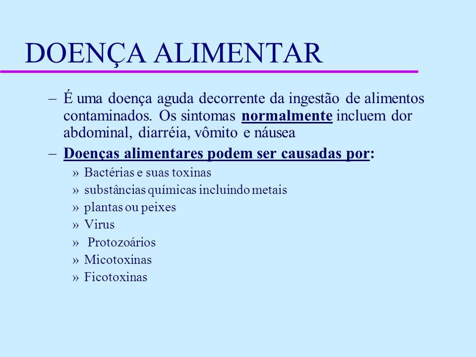 DOENÇA ALIMENTAR –É uma doença aguda decorrente da ingestão de alimentos contaminados. Os sintomas normalmente incluem dor abdominal, diarréia, vômito