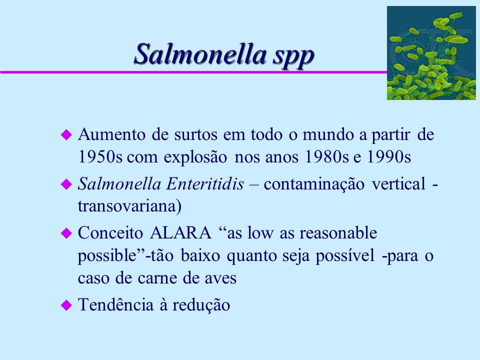Salmonella spp u Aumento de surtos em todo o mundo a partir de 1950s com explosão nos anos 1980s e 1990s u Salmonella Enteritidis – contaminação verti