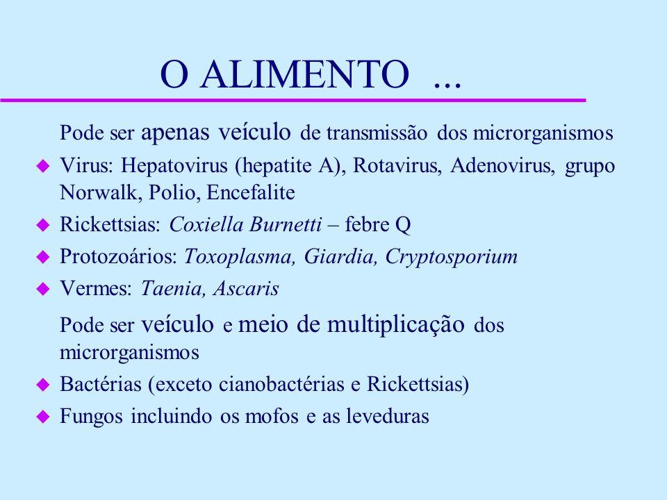 O ALIMENTO... Pode ser apenas veículo de transmissão dos microrganismos u Virus: Hepatovirus (hepatite A), Rotavirus, Adenovirus, grupo Norwalk, Polio