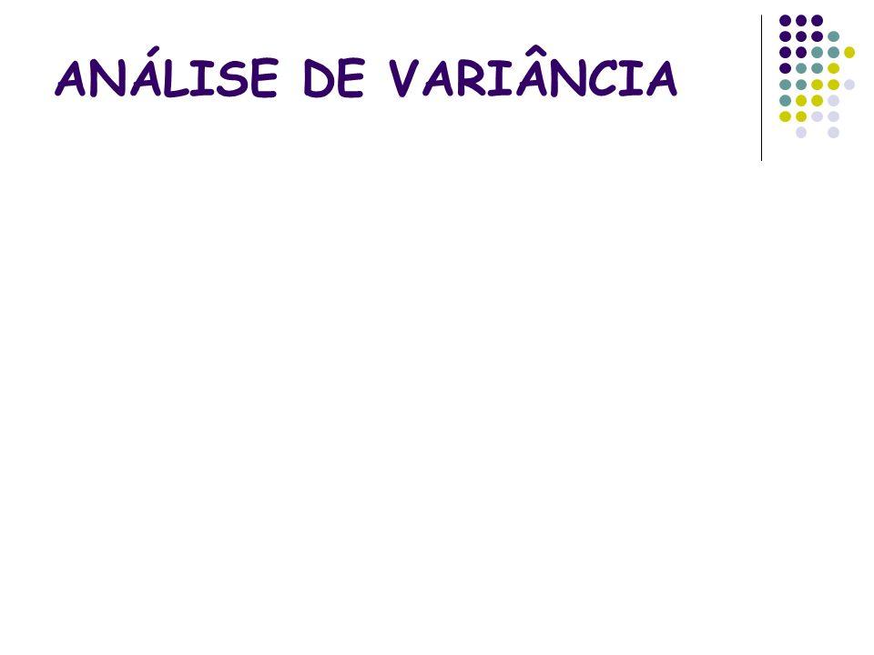 Análise de variância com dois fatores (II) Soma total de quadrados Soma de quadrados por n linhas (espécimes): Soma de quadrados por m colunas (métodos): Soma de quadrados dos desvios: