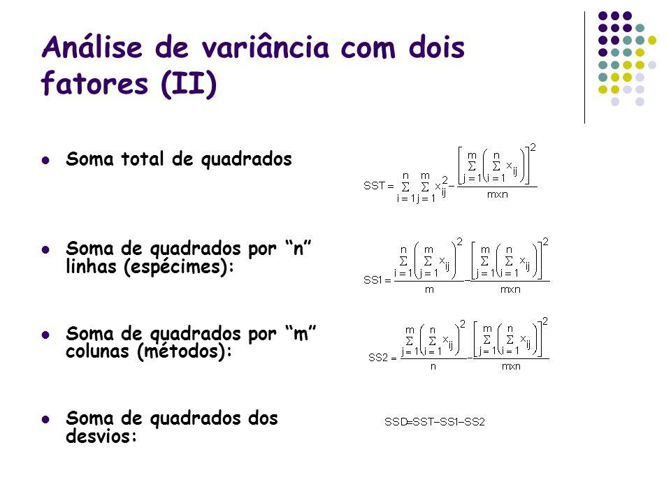 Análise de variância com dois fatores (II) Soma total de quadrados Soma de quadrados por n linhas (espécimes): Soma de quadrados por m colunas (método