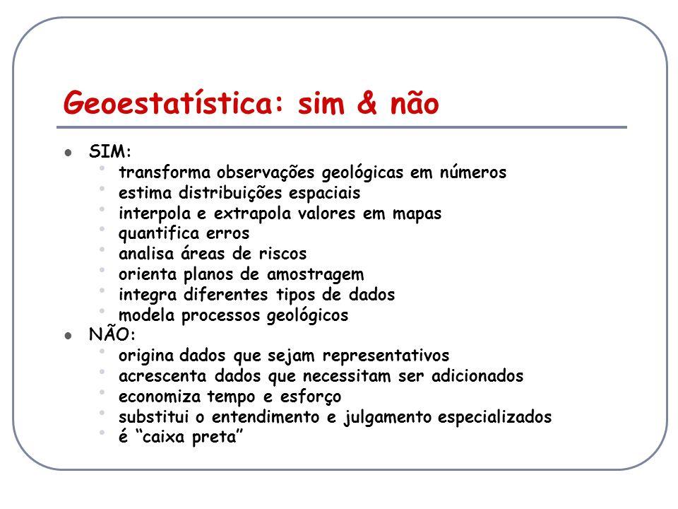 Geoestatística: sim & não SIM: transforma observações geológicas em números estima distribuições espaciais interpola e extrapola valores em mapas quan