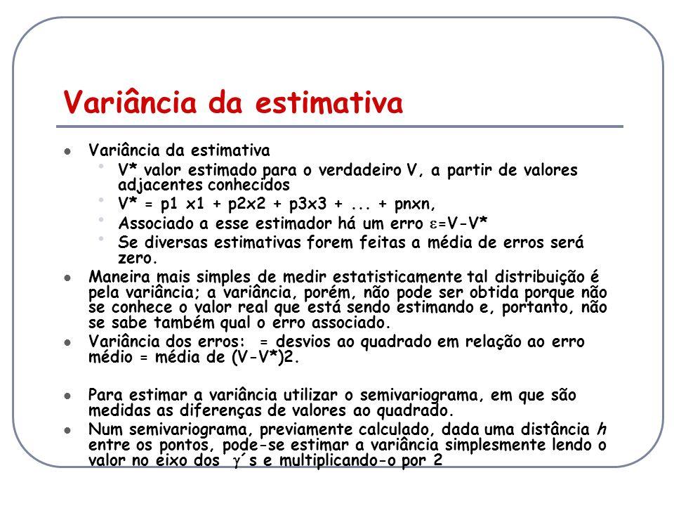 Variância da estimativa V* valor estimado para o verdadeiro V, a partir de valores adjacentes conhecidos V* = p1 x1 + p2x2 + p3x3 +... + pnxn, Associa