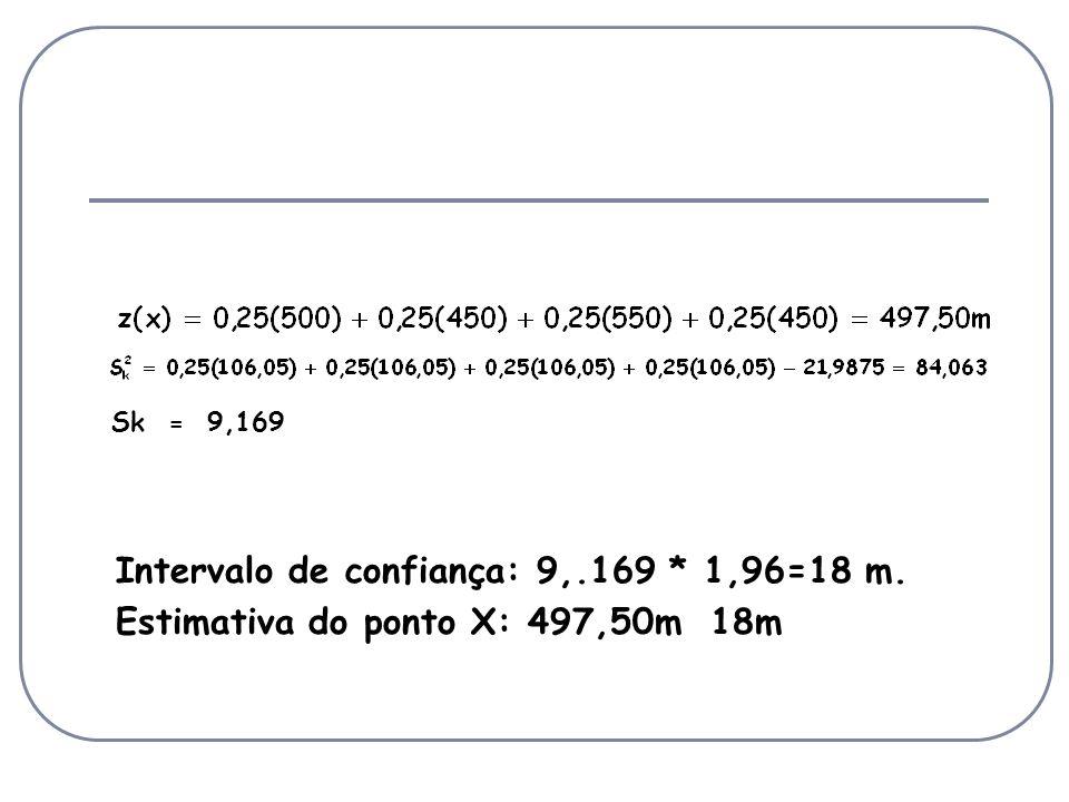 Sk = 9,169 Intervalo de confiança: 9,.169 * 1,96=18 m. Estimativa do ponto X: 497,50m 18m