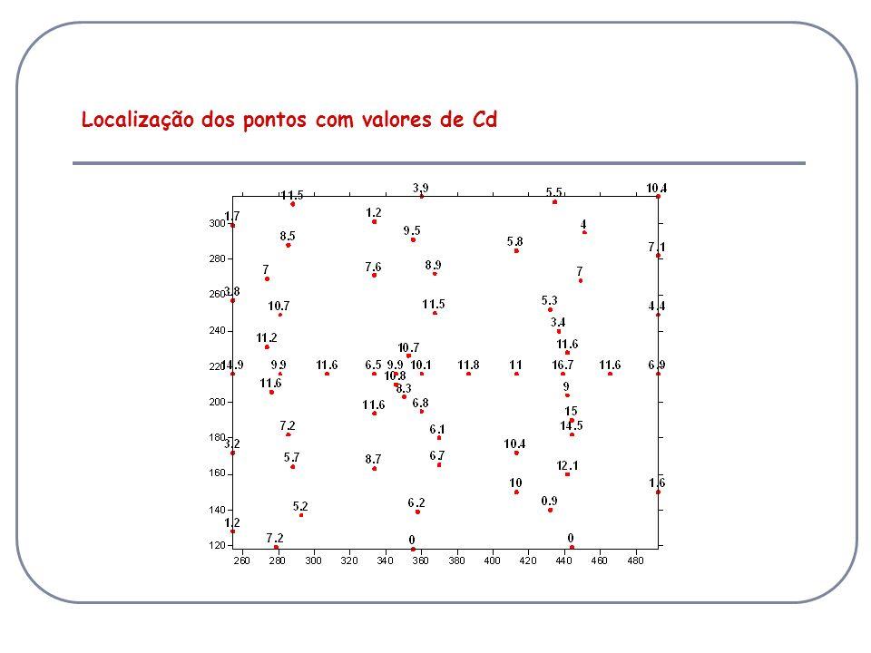Localização dos pontos com valores de Cd