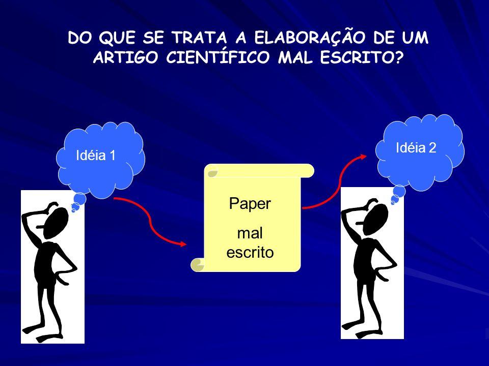 Idéia 1 Idéia 2 Paper mal escrito DO QUE SE TRATA A ELABORAÇÃO DE UM ARTIGO CIENTÍFICO MAL ESCRITO?