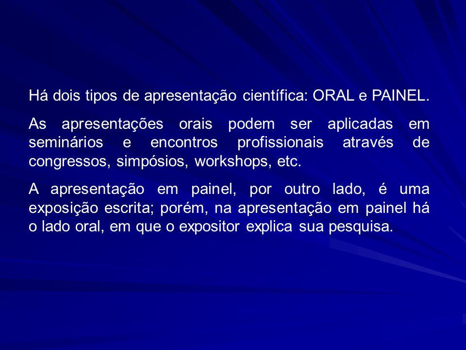 Há dois tipos de apresentação científica: ORAL e PAINEL. As apresentações orais podem ser aplicadas em seminários e encontros profissionais através de