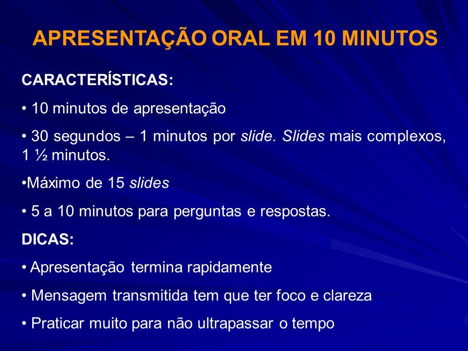 CARACTERÍSTICAS: 10 minutos de apresentação 30 segundos – 1 minutos por slide. Slides mais complexos, 1 ½ minutos. Máximo de 15 slides 5 a 10 minutos