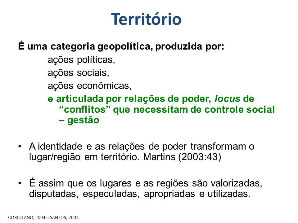 Território É uma categoria geopolítica, produzida por: ações políticas, ações sociais, ações econômicas, e articulada por relações de poder, locus de
