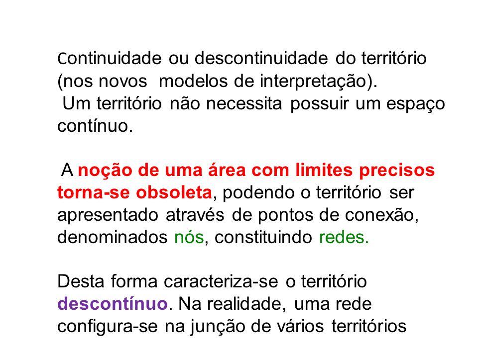 C ontinuidade ou descontinuidade do território (nos novos modelos de interpretação). Um território não necessita possuir um espaço contínuo. A noção d
