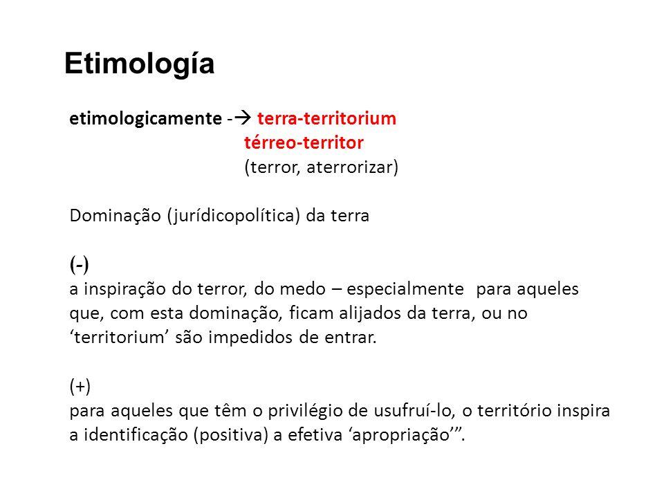etimologicamente - terra-territorium térreo-territor (terror, aterrorizar) Dominação (jurídicopolítica) da terra (-) a inspiração do terror, do medo –