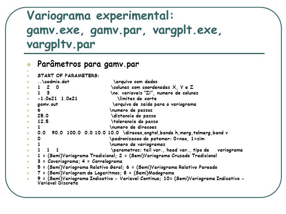 Variograma experimental: gamv.exe, gamv.par, vargplt.exe, vargpltv.par Parâmetros para gamv.par START OF PARAMETERS:..\cadmio.dat \arquivo com dados 1