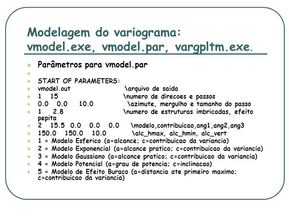 Modelagem do variograma: vmodel.exe, vmodel.par, vargpltm.exe. Parâmetros para vmodel.par START OF PARAMETERS: vmodel.out \arquivo de saida 1 15 \nume