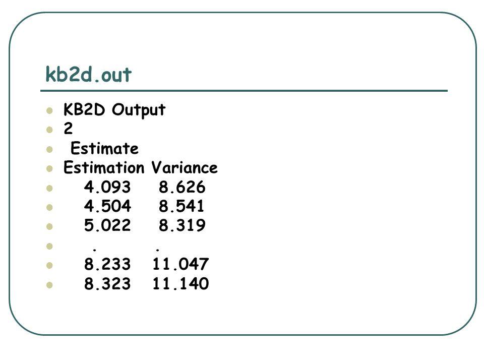 kb2d.out KB2D Output 2 Estimate Estimation Variance 4.093 8.626 4.504 8.541 5.022 8.319.. 8.233 11.047 8.323 11.140
