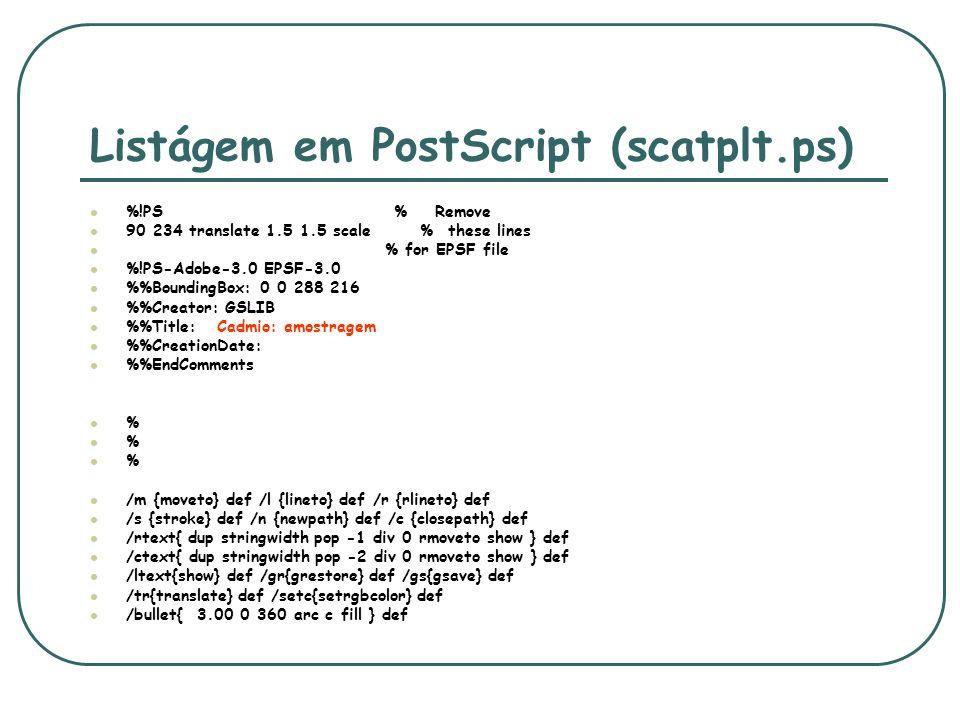 Listágem em PostScript (scatplt.ps) %!PS % Remove 90 234 translate 1.5 1.5 scale % these lines % for EPSF file %!PS-Adobe-3.0 EPSF-3.0 %BoundingBox: 0
