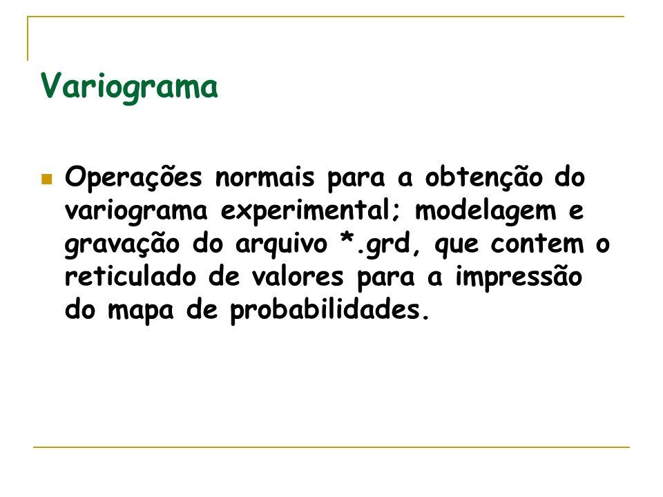 Variograma Operações normais para a obtenção do variograma experimental; modelagem e gravação do arquivo *.grd, que contem o reticulado de valores para a impressão do mapa de probabilidades.