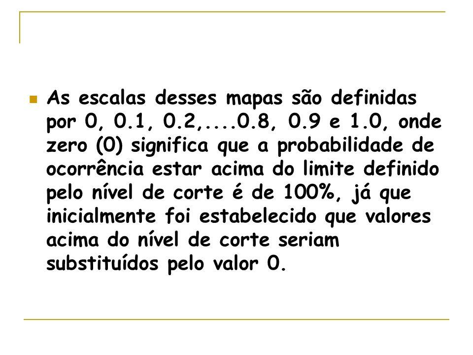 As escalas desses mapas são definidas por 0, 0.1, 0.2,....0.8, 0.9 e 1.0, onde zero (0) significa que a probabilidade de ocorrência estar acima do limite definido pelo nível de corte é de 100%, já que inicialmente foi estabelecido que valores acima do nível de corte seriam substituídos pelo valor 0.