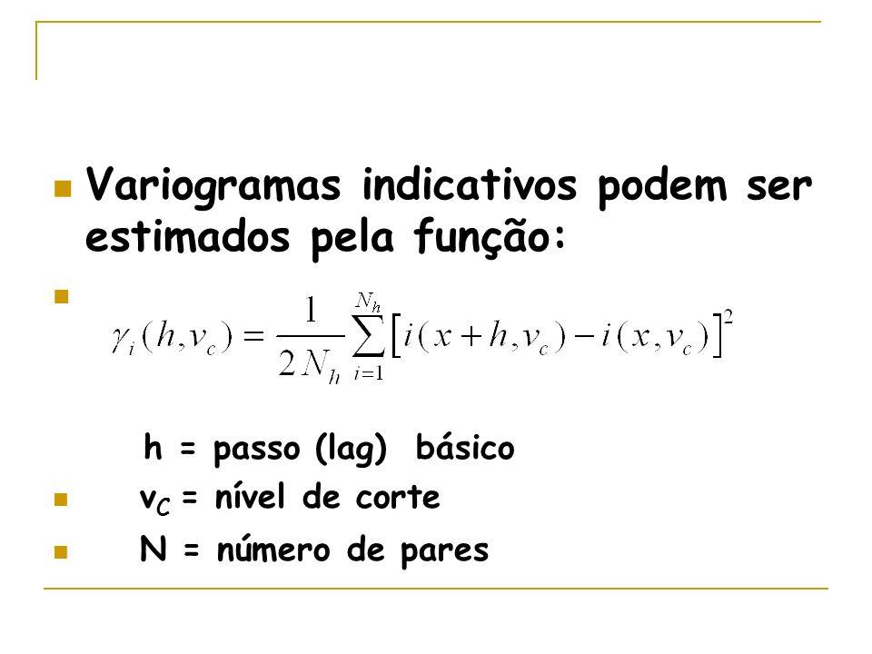 Variogramas indicativos podem ser estimados pela função: h = passo (lag) básico v C = nível de corte N = número de pares