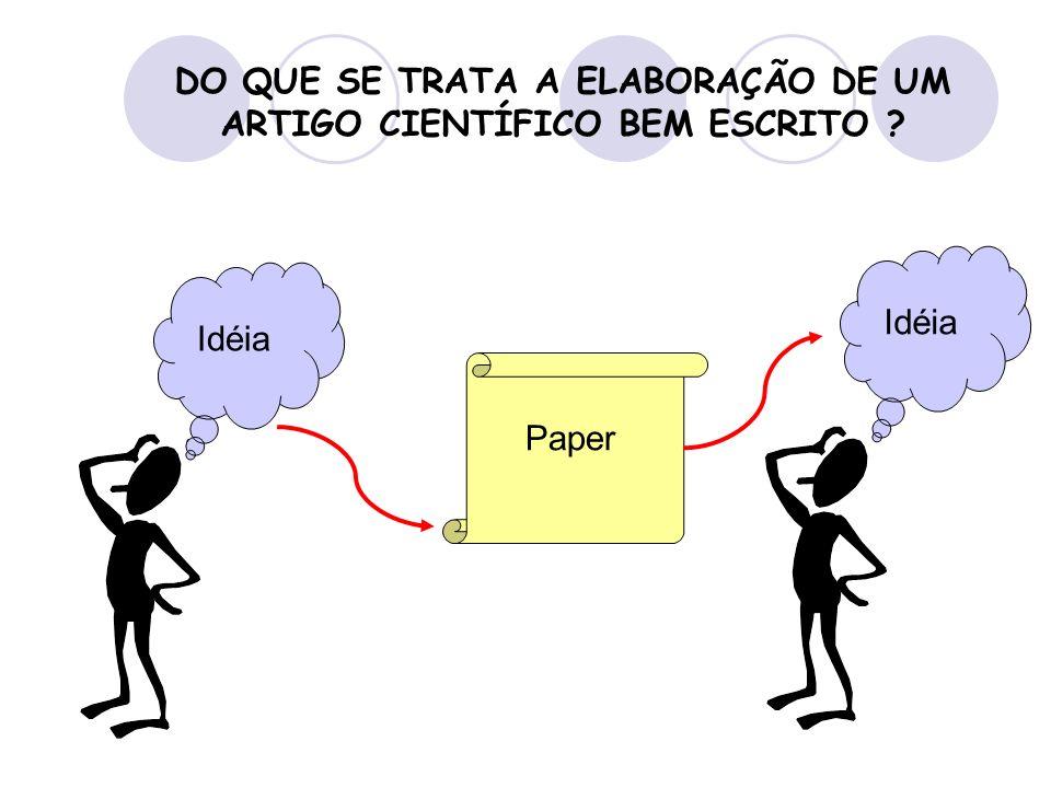 DO QUE SE TRATA A ELABORAÇÃO DE UM ARTIGO CIENTÍFICO BEM ESCRITO ? Idéia Paper