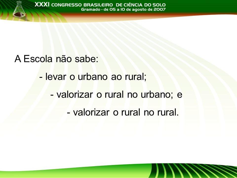 A Escola não sabe: - levar o urbano ao rural; - valorizar o rural no urbano; e - valorizar o rural no rural.