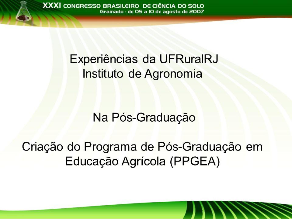 Experiências da UFRuralRJ Instituto de Agronomia Na Pós-Graduação Criação do Programa de Pós-Graduação em Educação Agrícola (PPGEA)