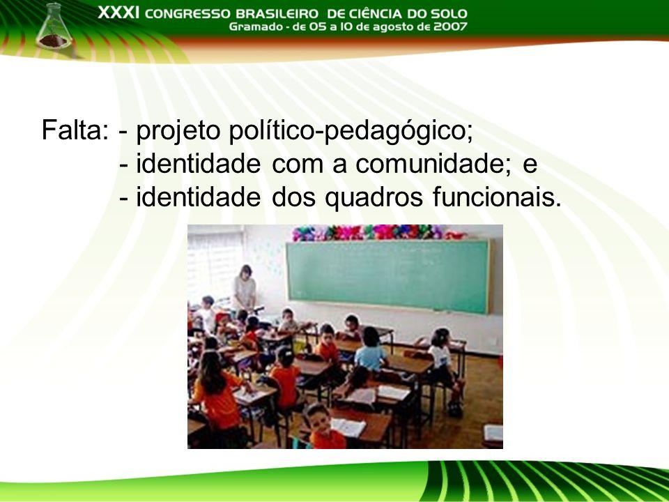 Falta: - projeto político-pedagógico; - identidade com a comunidade; e - identidade dos quadros funcionais.
