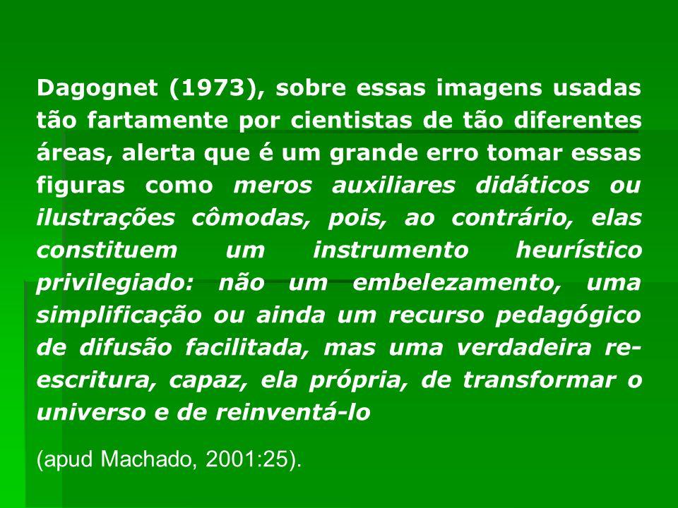 Dagognet (1973), sobre essas imagens usadas tão fartamente por cientistas de tão diferentes áreas, alerta que é um grande erro tomar essas figuras com