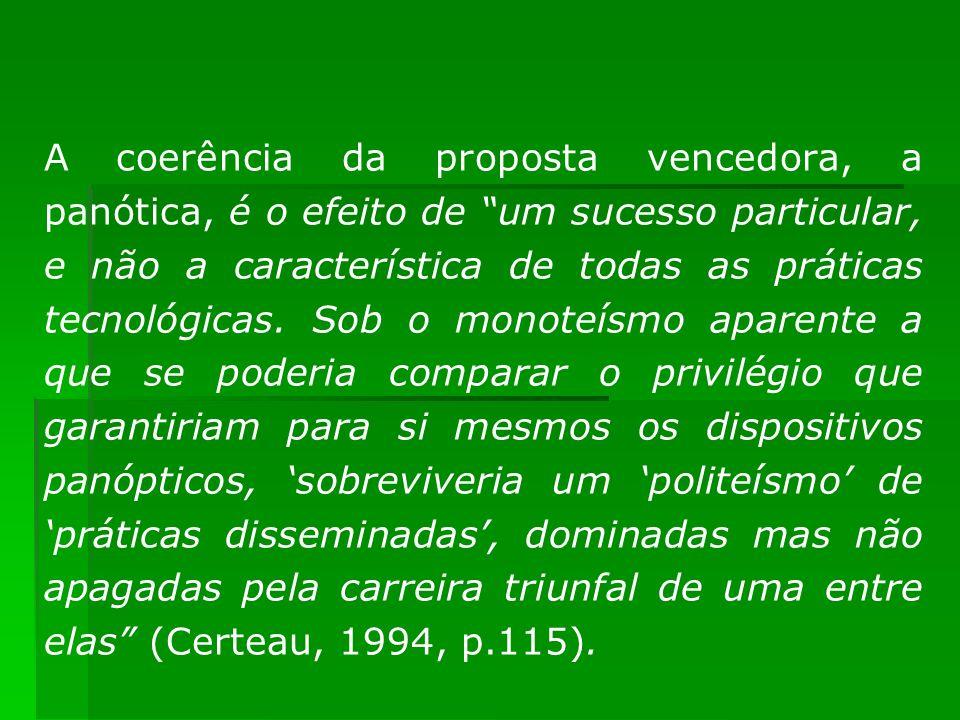 A coerência da proposta vencedora, a panótica, é o efeito de um sucesso particular, e não a característica de todas as práticas tecnológicas. Sob o mo