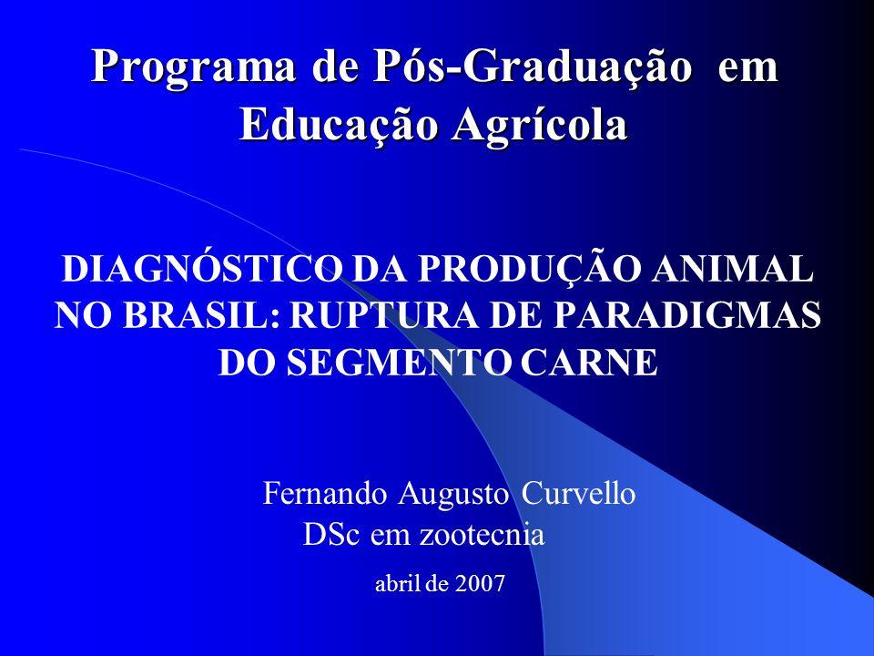 DIAGNÓSTICO DA PRODUÇÃO ANIMAL NO BRASIL: RUPTURA DE PARADIGMAS DO SEGMENTO CARNE Fernando Augusto Curvello DSc em zootecnia abril de 2007 Programa de