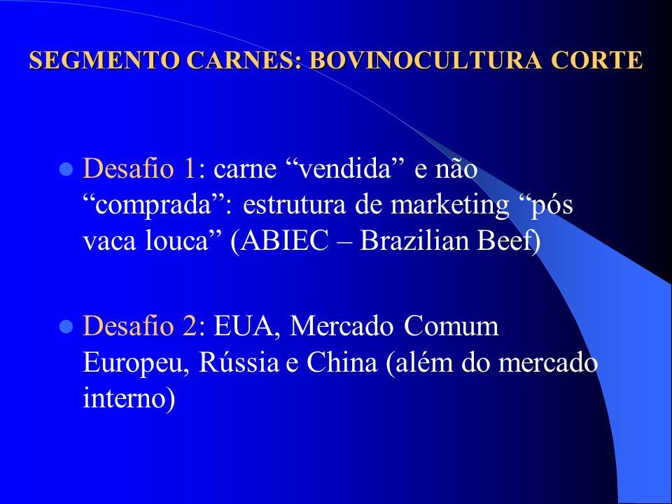 SEGMENTO CARNES: BOVINOCULTURA CORTE Desafio 1: carne vendida e não comprada: estrutura de marketing pós vaca louca (ABIEC – Brazilian Beef) Desafio 2