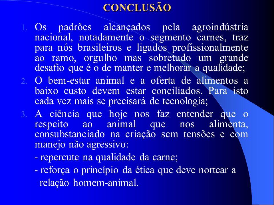 CONCLUSÃO 1. Os padrões alcançados pela agroindústria nacional, notadamente o segmento carnes, traz para nós brasileiros e ligados profissionalmente a