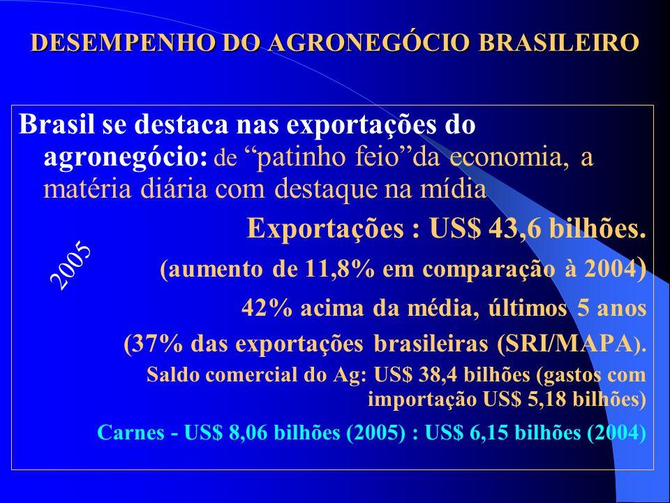 DESEMPENHO DO AGRONEGÓCIO BRASILEIRO Brasil se destaca nas exportações do agronegócio: de patinho feioda economia, a matéria diária com destaque na mí