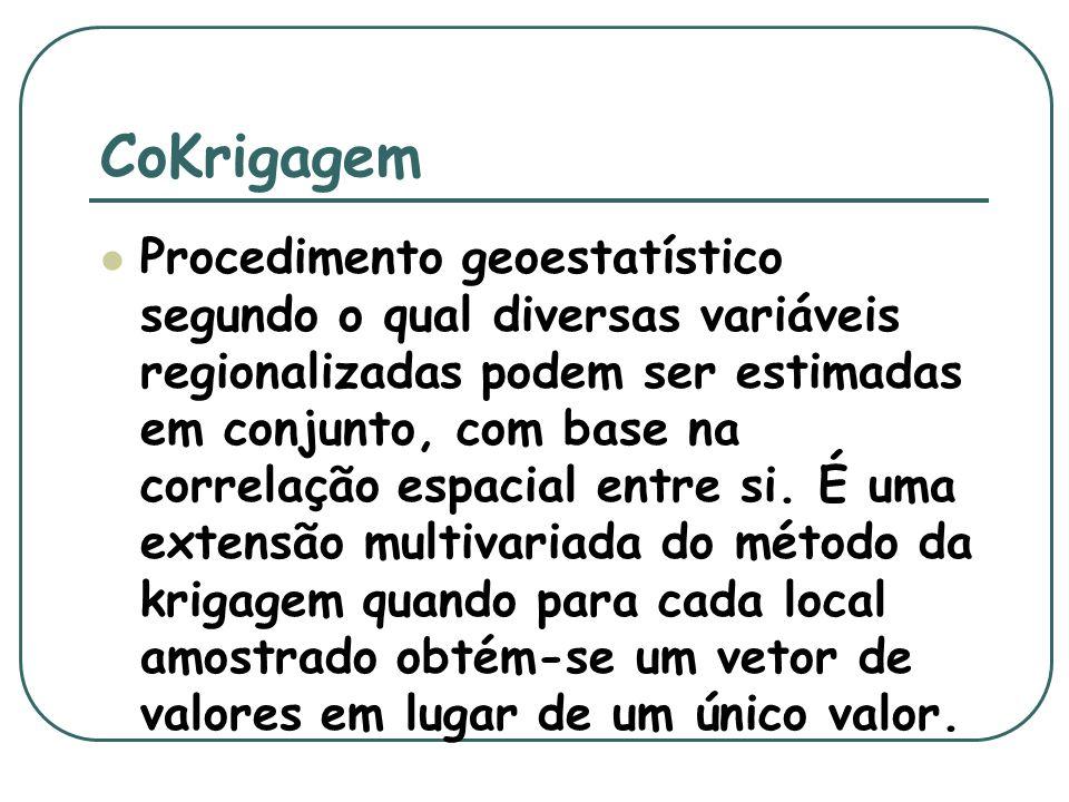 Aplicação da cokrigagem Quando duas ou mais variáveis são amostradas nos mesmos locais dentro de um mesmo domínio espacial e apresentam significativo grau de correlação.