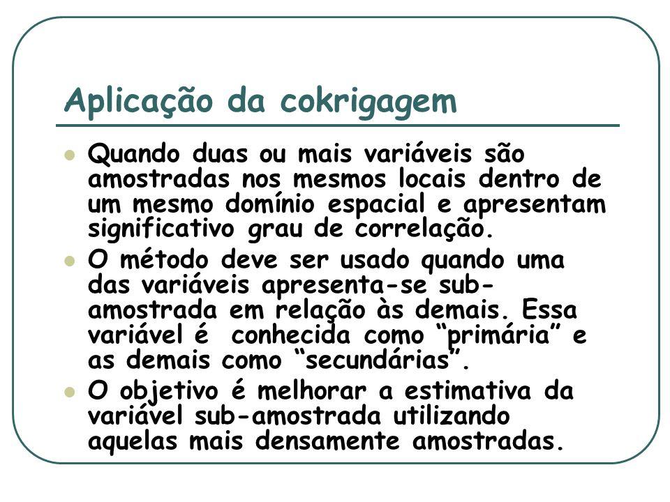 Fundamental na utilização da cokrigagem é a verificação prévia da correlação existente entre as variáveis, a qual deve ser alta para que as estimativas sejam consistentes.