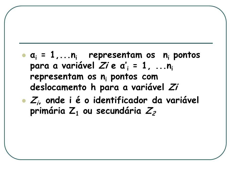 α i = 1,...n i representam os n i pontos para a variável Zi e α i = 1,...n i representam os n i pontos com deslocamento h para a variável Zi Z i, onde i é o identificador da variável primária Z 1 ou secundária Z 2