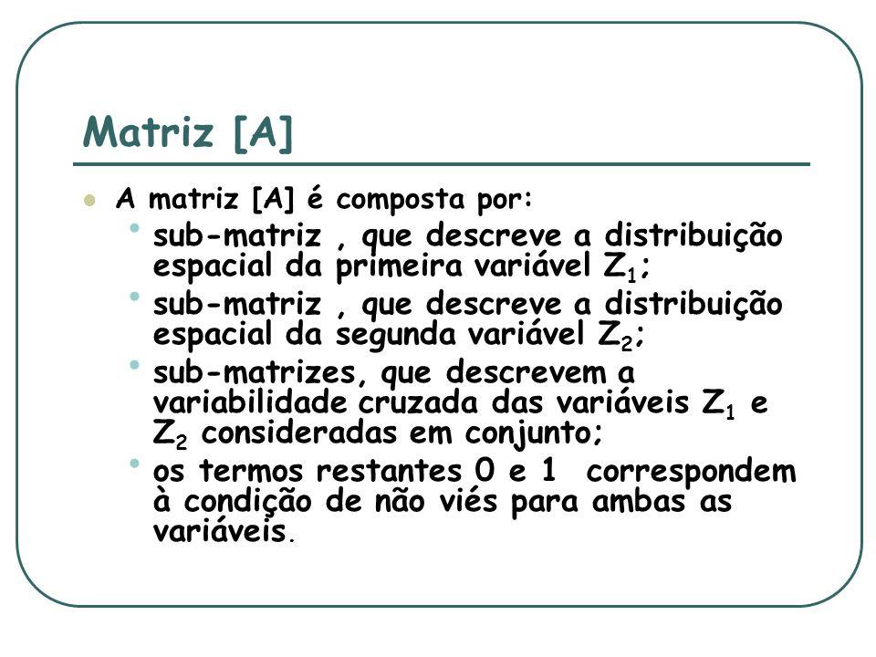 Matriz [A] A matriz [A] é composta por: sub-matriz, que descreve a distribuição espacial da primeira variável Z 1 ; sub-matriz, que descreve a distribuição espacial da segunda variável Z 2 ; sub-matrizes, que descrevem a variabilidade cruzada das variáveis Z 1 e Z 2 consideradas em conjunto; os termos restantes 0 e 1 correspondem à condição de não viés para ambas as variáveis.
