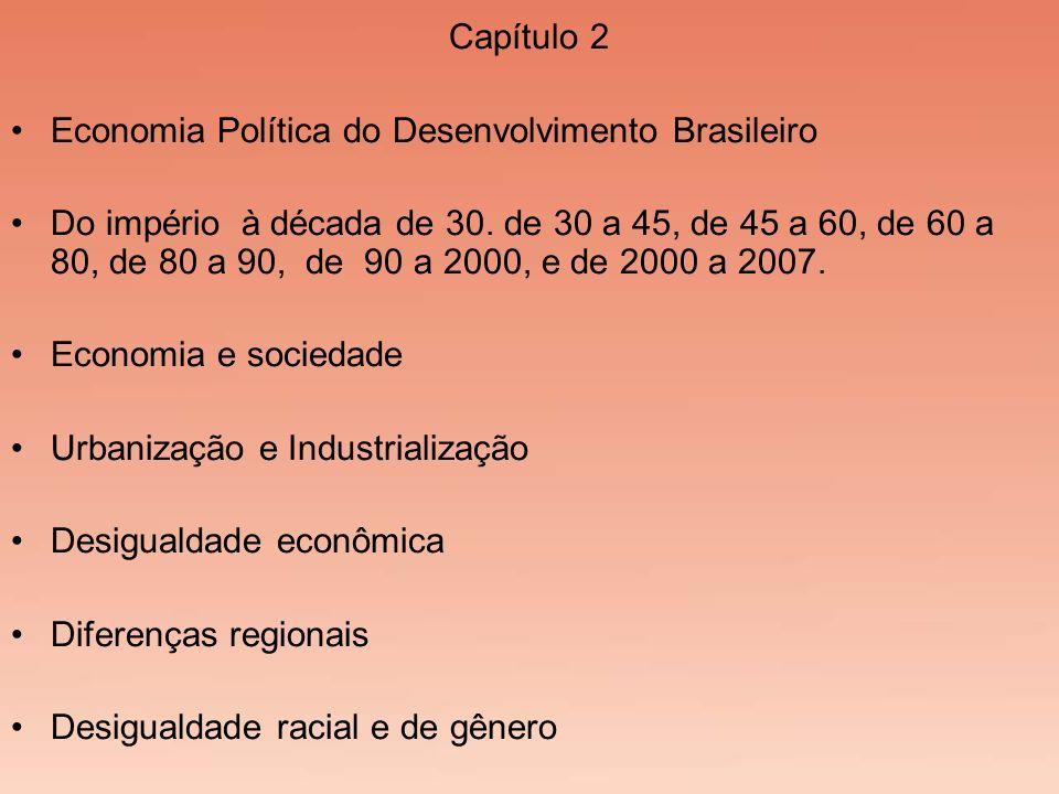 Capítulo 2 Economia Política do Desenvolvimento Brasileiro Do império à década de 30. de 30 a 45, de 45 a 60, de 60 a 80, de 80 a 90, de 90 a 2000, e