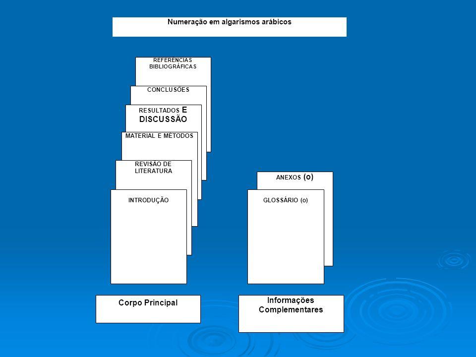 ANEXOS (o) GLOSSÁRIO (o) REFERÊNCIAS BIBLIOGRÁFICAS CONCLUSÕES RESULTADOS E DISCUSSÃO MATERIAL E MÉTODOS REVISÃO DE LITERATURA INTRODUÇÃO Corpo Princi