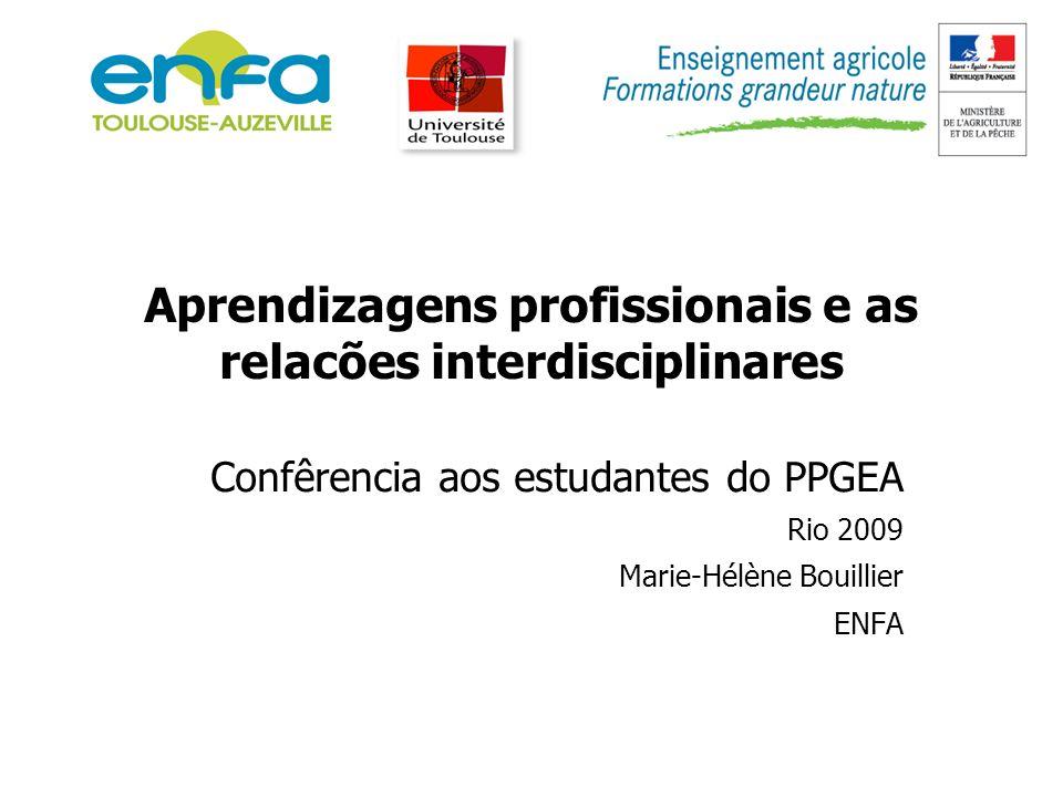 Aprendizagens profissionais e as relacões interdisciplinares Confêrencia aos estudantes do PPGEA Rio 2009 Marie-Hélène Bouillier ENFA