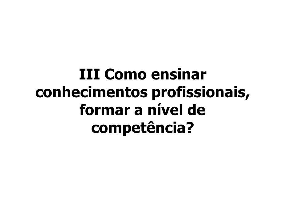 III Como ensinar conhecimentos profissionais, formar a nível de competência?