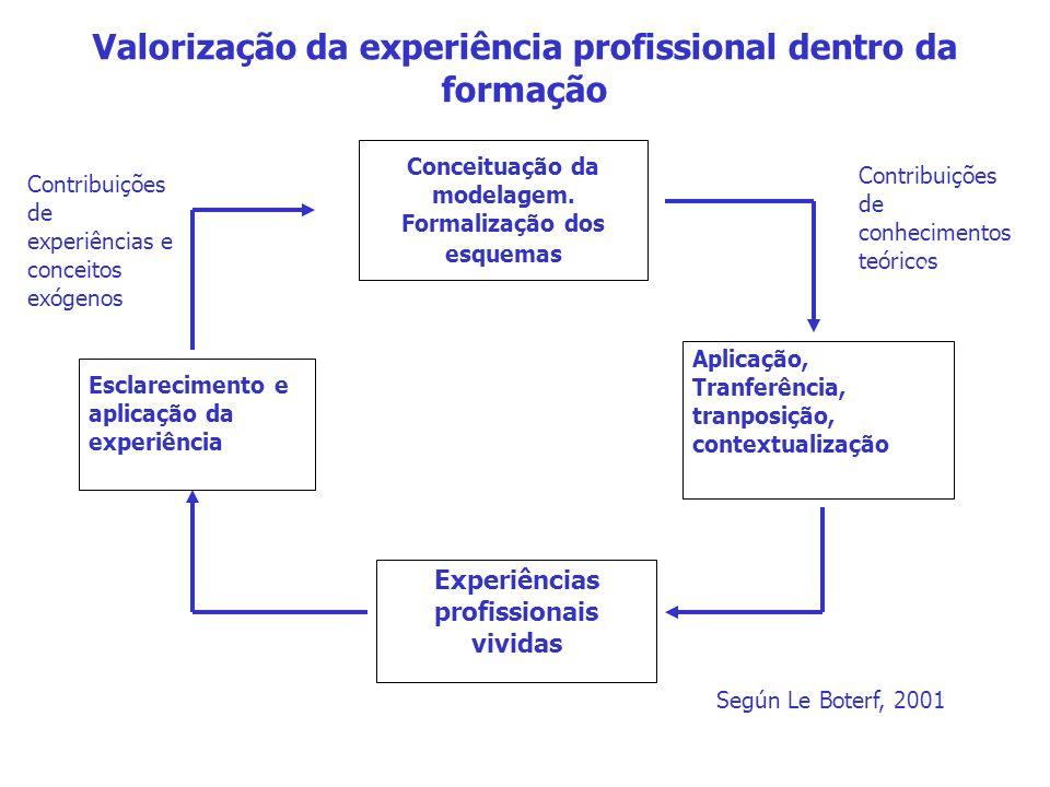 Valorização da experiência profissional dentro da formação Conceituação da modelagem.