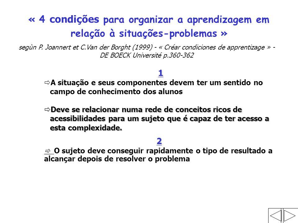 « 4 condições para organizar a aprendizagem em relação à situações-problemas » segùn P.