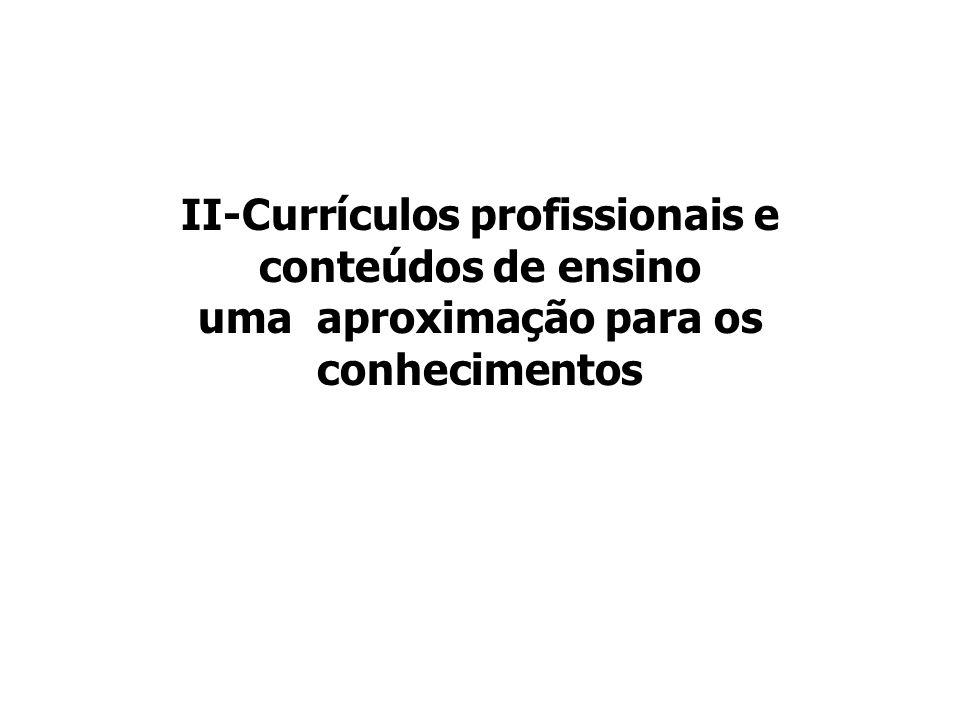 II-Currículos profissionais e conteúdos de ensino uma aproximação para os conhecimentos