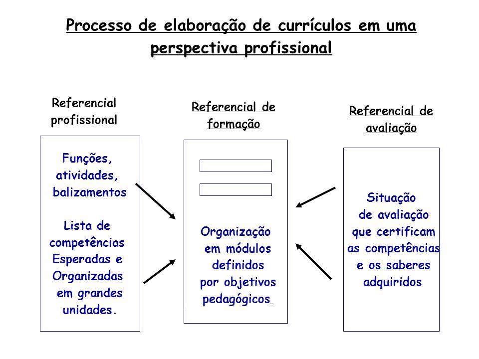Processo de elaboração de currículos em uma perspectiva profissional Funções, atividades, balizamentos Lista de competências Esperadas e Organizadas em grandes unidades.