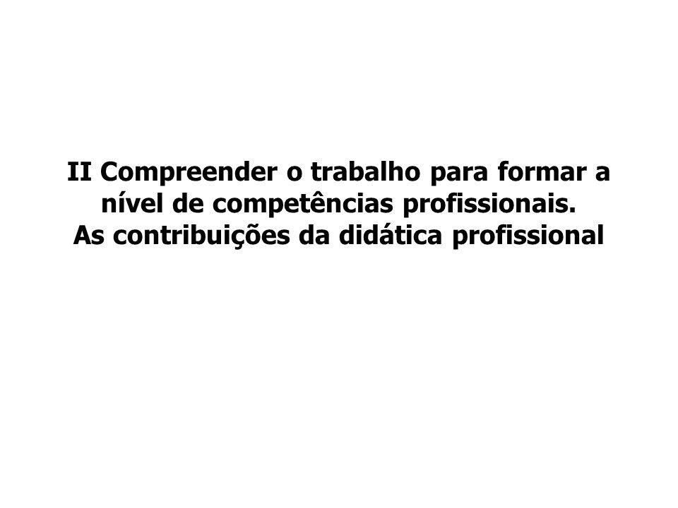 II Compreender o trabalho para formar a nível de competências profissionais.