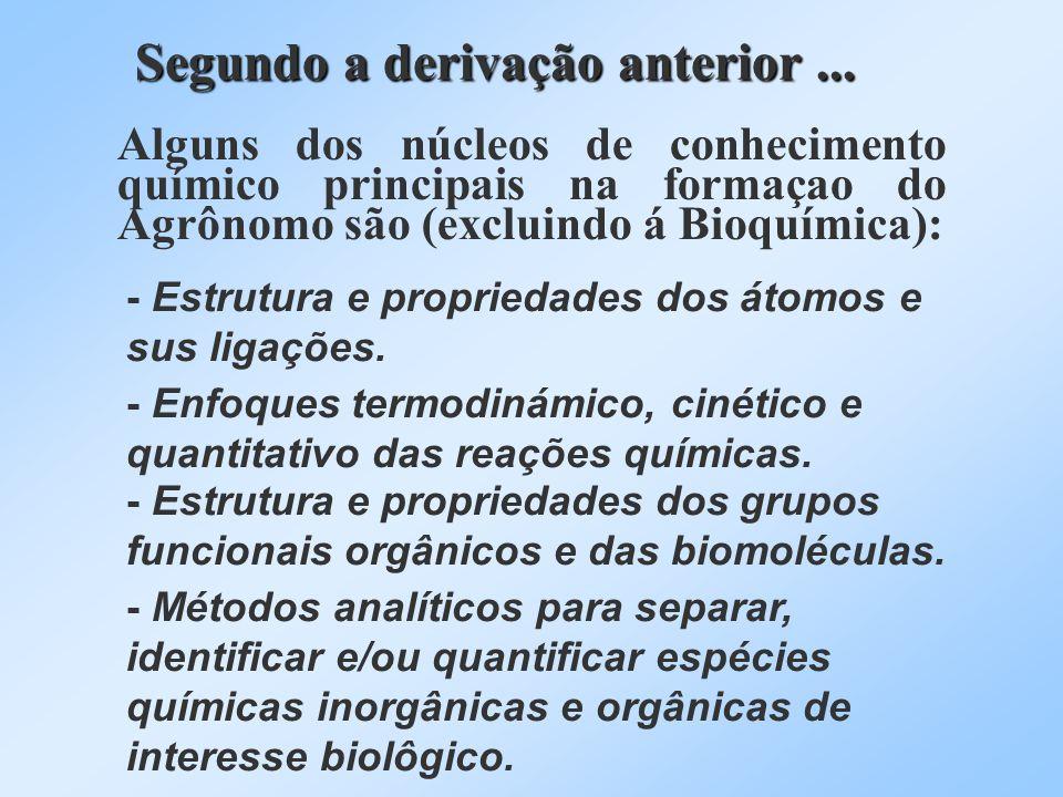 Segundo a derivação anterior... Alguns dos núcleos de conhecimento químico principais na formaçao do Agrônomo são (excluindo á Bioquímica): - Estrutur