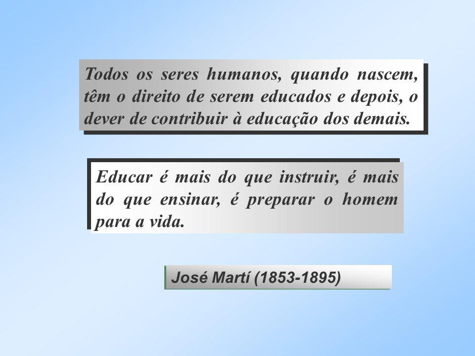 Todos os seres humanos, quando nascem, têm o direito de serem educados e depois, o dever de contribuir à educação dos demais. Educar é mais do que ins
