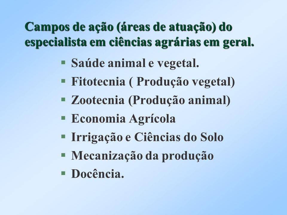 Campos de ação (áreas de atuação) do especialista em ciências agrárias em geral. Saúde animal e vegetal. Fitotecnia ( Produção vegetal) Zootecnia (Pro