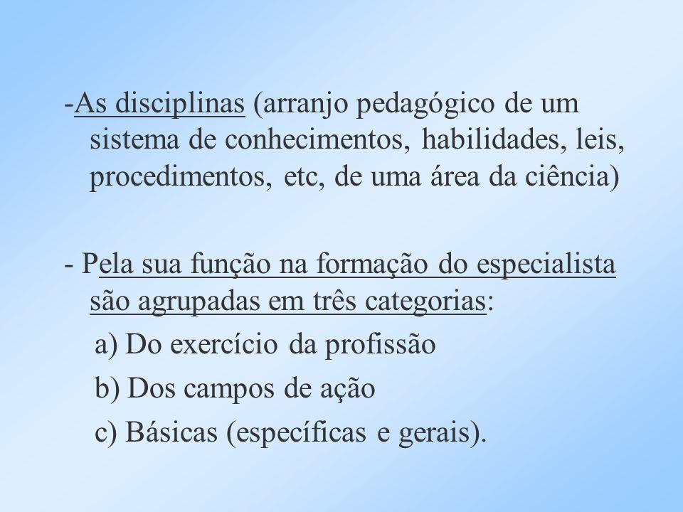 -As disciplinas (arranjo pedagógico de um sistema de conhecimentos, habilidades, leis, procedimentos, etc, de uma área da ciência) - Pela sua função n